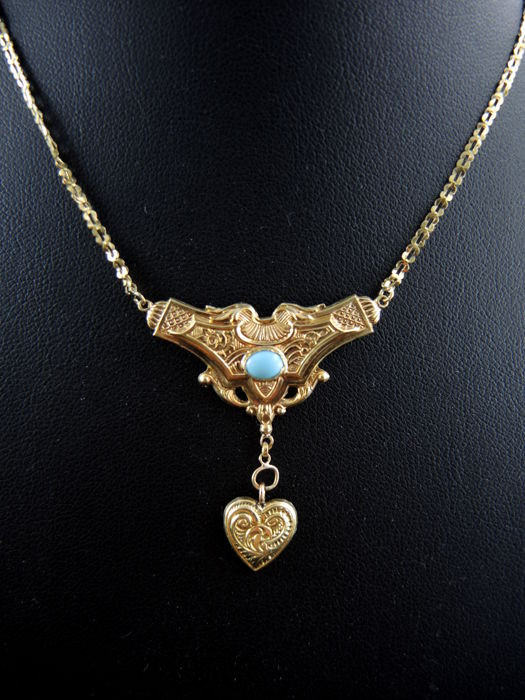 Gold and turquoise antique necklace with heart pendant