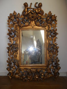 Large baroque mirror in gilded wood, Italy, c.1950