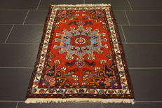 Original beautiful antique BAKHTIAR handwoven Persian carpet Bakhtiari plant-based colours, made in Iran, 81 x 129 cm