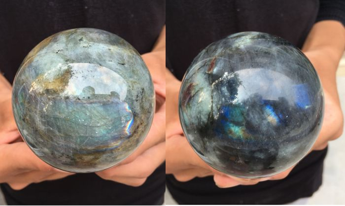 Natural Labradorite Crystal Spheres - 68mm - 521 and 524gm  (2)