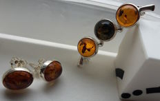 Brooche & Earrings - set - Natural Baltic amber - Silver 925 - no pressed - UV test
