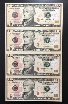 USA - 4 x 10 dollars - uncut sheet 2009