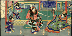 Woodblock print triptych by Toyohara Kunichika (1835 - 1900) - Japan - 1865