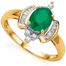 14KT Yellow  Gold Ring Genuine Emerald  1.0ct - Ring size France 54