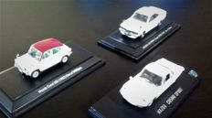Kyosho / Ebbro - 1/43 Scale - Batch with 3 models: Mazda Savanna coupe RX3; Cosmo sport white & Carol 360