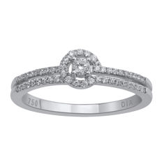 18Kt. white gold eternity diamond ring set with diamonds 0.25ct. (approx. centre 0.10ct.) , GH colour and SI clarity ,Size 54/N (Resizing aveilable in antwerp)