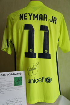 Neymar Jr Authentic Hand Signed Nike Soccer #11 Barcelona On Field Lime Soccer Jersey. Neymar Santos Autographed with PSA / DNA Letter of Authenticity.