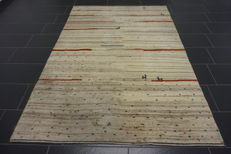 Hand-knotted carpet, Gabbeh, nomad's work, wool on wool, made in India, 140 × 240 cm