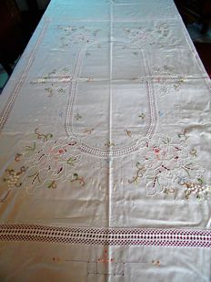 Tablecloth with different needlework techniques Spain