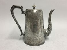 Antique silver plated coffeepot with engraved floral decoration, J.H. Potter, Sheffield, England, ca. 1885