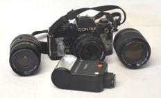 Contax 139 Quartz camera with Carl Zeiss lens - 50 mm -  f. 1: 1.7 + 1) Yashica lens - 28 - 2) Yashica lens - 135 mm f. 1: 2.8