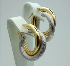 14 Ct Yellow & White Gold Crossover Hoop Earrings, Diameter 2.50cm, Total Weight 2.24g