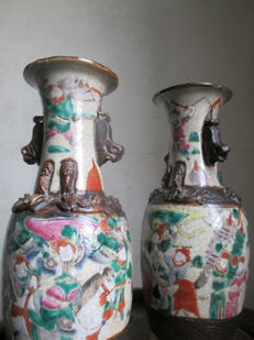 Pair of baluster vases in porcelain from Nanjing - China - Early 20th century