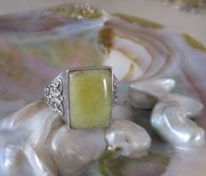 925 silver men's ring with Baltic butterscotch egg yolk white amber