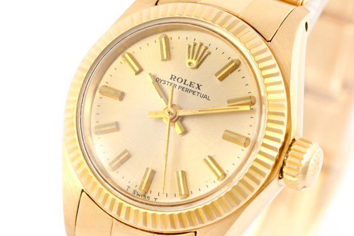 rolex oyster perpetual lady automatic 18k gold 6700 damen 1980 1989 catawiki. Black Bedroom Furniture Sets. Home Design Ideas