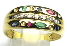 Diamond-ruby-emerald-sapphire ring, 18 kt/750 yellow gold, size 62/19.7 mm