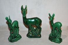 Three antelopes in ceramic - Art Deco - 'Sainte Radegonde'