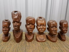 6 Wooden Heads of African Men and Women - West Africa