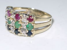 14 kt gold ring, 3 grams, channel ring, size 16.6.