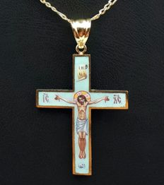 14 Ct YellowGold Men's Chain Enamel Crucifix, Chain:55cm , Cross4x2.5 cm, Total 6.03g