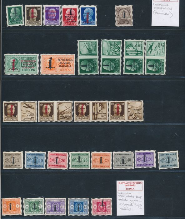 Italy 1944 - RSI lot with Propaganda di guerra and Expressi with overprint G.N.R.