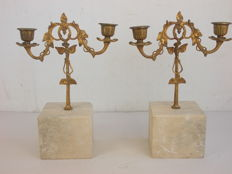Antique pair of candlesticks with remarkable Carrara marble base and bronze candle-holder, Italy, 1900s