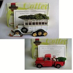 Matchbox - Scale 1/46-1/43 - Lot with 2 models: Christmas editions Scania Vabis Holiday Special & Chevy pick-up 1955