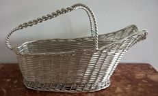 Bottle holder basket in woven silver Masi Athos, Florence (Italy)