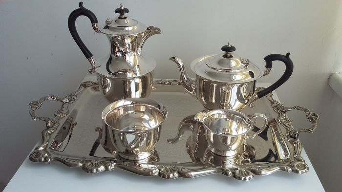 JD & S, James Deakin & Sons Mark entered (c. 1932) in Birmingham, Chester and Sheffield Assay Offices tea set 4 pieces silver plated marks made in england.
