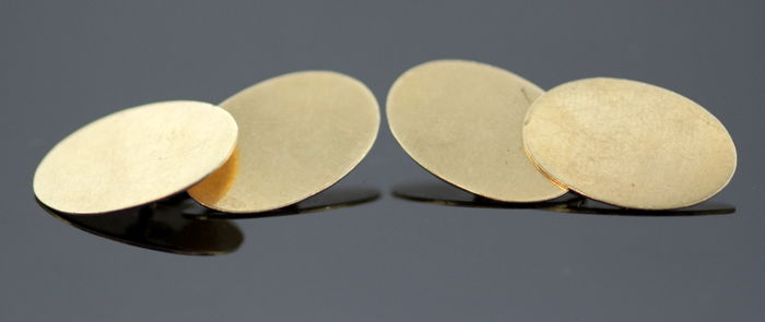 Vintage 9K yellow gold cuff links, circa. 1960's
