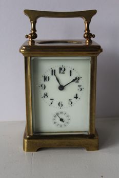 Antique French brass carriage clock - around 1880