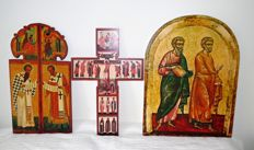 Three icons on wood - replicas - Russia, France, Greece - Mid 20th century