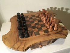 Beautiful large olive wood chess game
