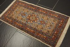 Royal handwoven Persian carpet, Moud runner, 55 x 110 cm, made in Iran circa 1980