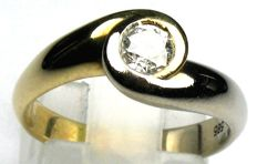 0.40 ct Solitaire diamond ring 14 kt/585 bicoloured gold, size 52/16.5 mm
