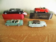 Franklin Mint / Brokklin / Sun Star - Scale 1/43 - lot with 5 vintage car models: Buick, Pontiac, Lincoln, Graham & Mercury