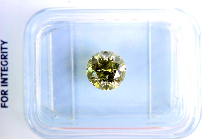 * NO RESERVE PRICE * - Fancy INTENSE Greenish Yellow -  1.04 ct