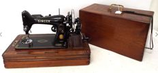 Vintage Singer 99K manual hand crank sewing machine  with case with light, 1956