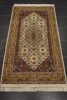 Premium handwoven oriental carpet Indo Bidjar Herati runner 95 x 170 cm Made in India at the end of the 20th century