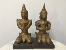 2 Wooden gilt kneeling Theppanom - Thailand - late 19th century (Rattana-Kosin period)