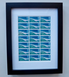 Framed 1969 First Flight of Concorde GB MINT stamps - Block of 21 x 4d stamps