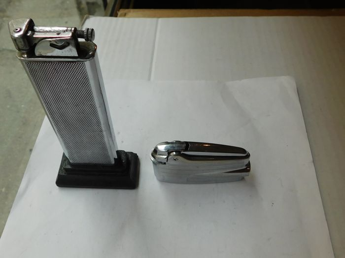 Chrome-plated steel, lighter, 1960s, 1930s chrome plated brass table lighter