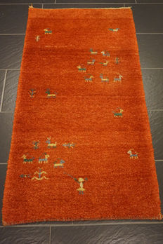 Beautiful Persian carpet Gabbeh wool on wool, nomad's work, made in India, natural colours 80 x 145 cm