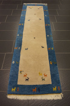 Hand-knotted carpet, Gabbeh, nomad's work, wool on wool, made in India, 75 × 250 cm