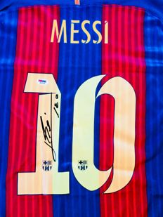 Messi #10 / Fc Barcelona - Signed Home Jersey - with Certificate of Authenticity PSA/DNA