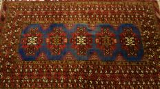 Beautiful hand knoted Afghan Shirvan Kazak rug.220 cm x 130 cm, about 250,000 knots/m².Attractive vegetable dyes. (+ - 1960)