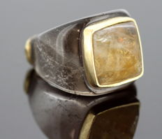 Barbara Harris - Vintage 18K Gold, Agate and Smoky Quartz Ladies Ring. - Size: (UK) = S (US) = 9 1/2 (EU) = 60 1/4