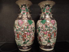 "Pair of Nanking ""famille rose"" vases - China - Around 1900"
