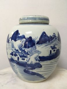 Porcelain B/W Jar and Cover -  China - mid 20th century