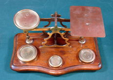 Antique English mahogany with brass post office scales, ca. 1900